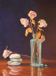 Still Life Award Dried Roses Rocks amp Marbles nbspby Betsy Kellum